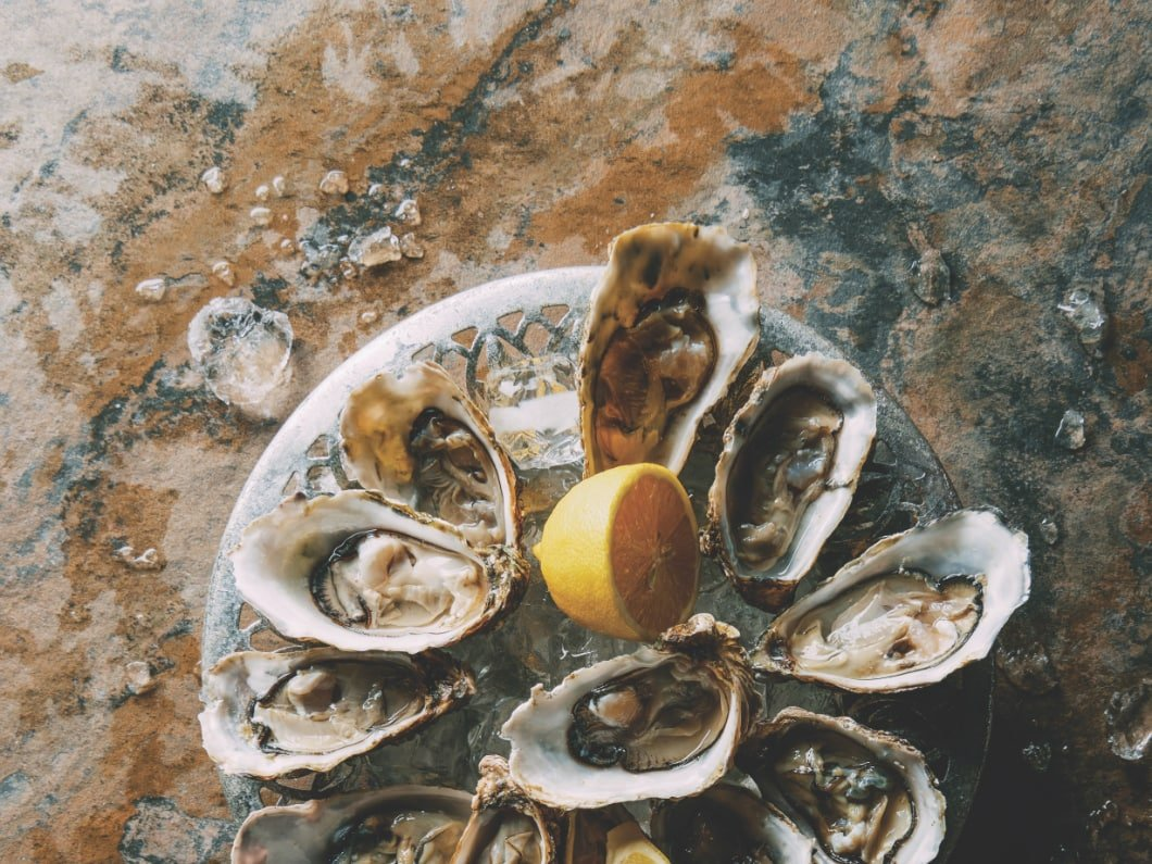 plate of oysters with a lemon wedge